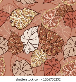 Seamless background with tropical  leaves.Golden tropical leaves.