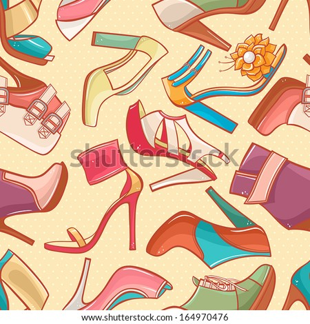 0c124727d4ae seamless background with a variety of color women s shoes with high heels.  vector illustration