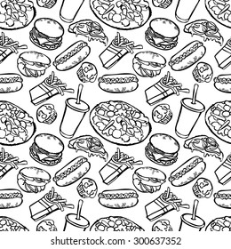Seamless background with various fast food. Hand-drawn illustration. Fast food background.