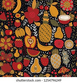 Seamless background with various  fruits. Vector fruit pattern.