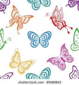 Seamless background, various symbolical butterflies, coloured contours on a white background. Vector