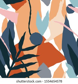 Seamless background. Vector floral header in tropical style. Modern graphic design