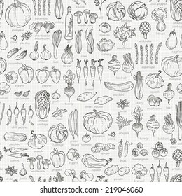 Seamless background of vegetables and spices, hand-drawn illustration in vintage style.