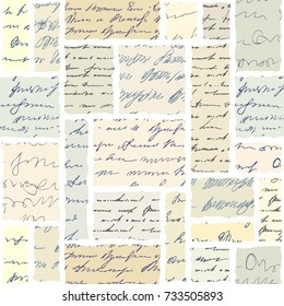 Seamless background. Vintage abstract collage in scrapbook style.