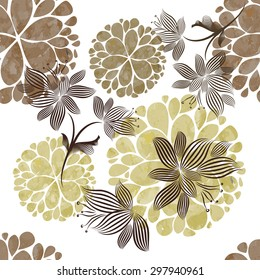 seamless background vintage beige flowers. Vector