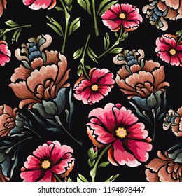 Seamless background with vintage flowers.