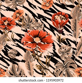 Seamless background with vintage flowers and skin of the tiger.