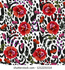 Seamless background with vintage flowers and skin of the leopard