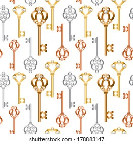 Seamless background with vintage skeleton keys with pearls