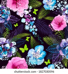 A seamless background of watercolor flowers. Floral print. Vector illustration
