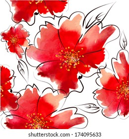 seamless background of watercolor flowers. Vector