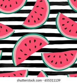 Seamless background with watermelon slices on black and white watercolor stripes . design for holiday greeting card and invitation of seasonal summer holidays, summer beach parties, tourism and travel
