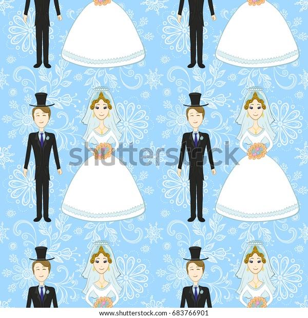 Seamless Background Wedding Cartoon Bride Groom Stock Vector