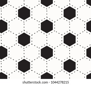 Seamless background of white and black football, soccer ball pattern.