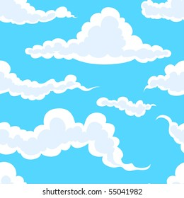 seamless background: white clouds in blue sky