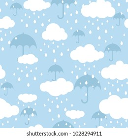 Seamless background with white clouds, raindrops and umbrella on blue sky. Overcast pattern. Vector illustration. Cartoon rain weather wallpaper. Rainy day