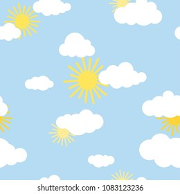 Seamless background with white clouds and sun on blue sky. Overcast pattern. Vector illustration. Cartoon weather wallpaper. Sunny day, good mood.