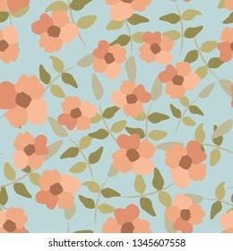 Seamless background with wild rose flowers