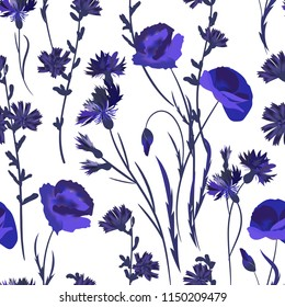 Seamless background with wildflowers. Vector. Blue watercolor