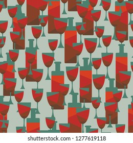 Seamless background with wine bottles and glasses.