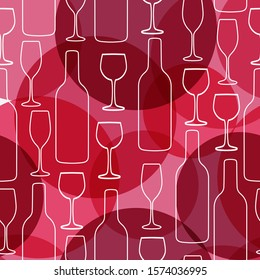 Seamless background with wine bottles and glasses. Winery bright colors pattern for web, poster, textile, print and other design
