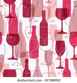 Seamless background with wine bottles and glasses. Bright colors wine pattern for web, poster, textile, print and other design. Red wine design
