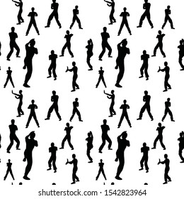 seamless background, wing chun. Black and white concept of martial art. Silhouettes of fighters