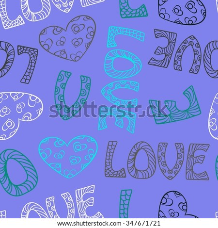 Seamless Background Of The Word Love Words And A Heart With A Beautiful Ornament