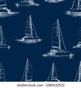 Seamless background of the yachts sketches
