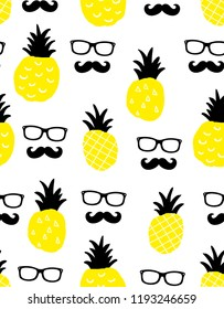 Seamless background with yellow pineapples and male faces in glasses. Vector endless wallpaper.