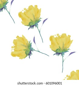 Seamless background of yellow watercolor roses