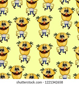 Seamless Background for your Design with Funny Dancing Men Alcoholics, Tile Pattern with Cartoon Characters. Vector