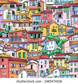 Seamless backgrounfd with typical colorful houses in old town in Menton, France