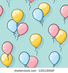 Seamless balloon pattern in doodle style. Kid's fabric pattern with blue, yellow and pink balloons. Design concept for holidays birthday greeting cards, festival decoration, gift card.