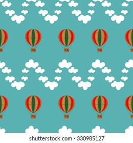Seamless with balloons and clouds.
