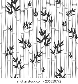 Seamless  bamboo pattern.  Black and white vector illustration.