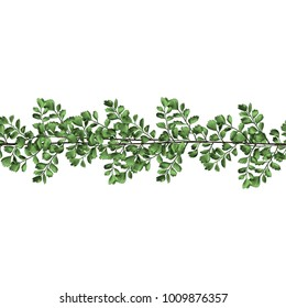 seamless band of twigs with leaves sketch vector graphics color picture