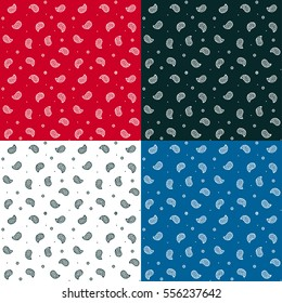 Seamless bandana pattern set in different colors. Traditional Paisley texture, vector illustration.
