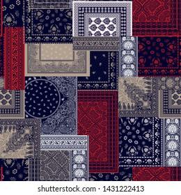 seamless bandanna patchwork pattern  on navy