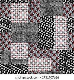 seamless bandanna patchwork pattern on black