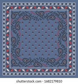 seamless bandanna pattern on blue