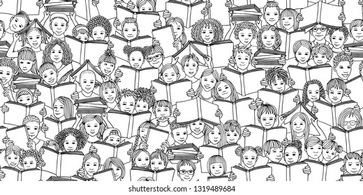"Seamless banner of children reading books, ""back to school"" vector background with diverse school kids, black and white"