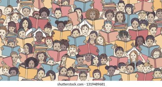 "Seamless banner of children reading colorful books, ""back to school"" vector background with diverse school kids"