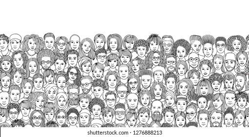 Seamless banner with a diverse crowd of people, hand drawn faces of various ethnicities, black and white illustration