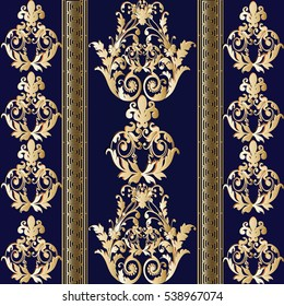 Seamless baroque  pattern with  vertical strips and antique decorative medieval gold  3d ornaments.Elegant wallpaper. Vector luxury texture.Dark blue rich ornate background.