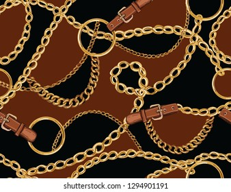 Seamless Baroque vector pattern with belts, chain and braid. Vector patch for print, fabric, scarf design.