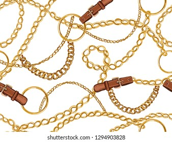Seamless Baroque vector pattern with belts, chain and braid. Vector patch for print, fabric, scarf design.\t\r\r