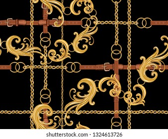 Seamless Baroque vector pattern with belts, chain and braid, baroque elements. Vector patch for print, fabric, scarf design.