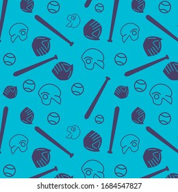 seamless baseball bat, ball, helmet and gloves icon pattern on turquoise background. simple vector design.