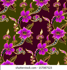 Seamless  batik background.colorful  flower.
